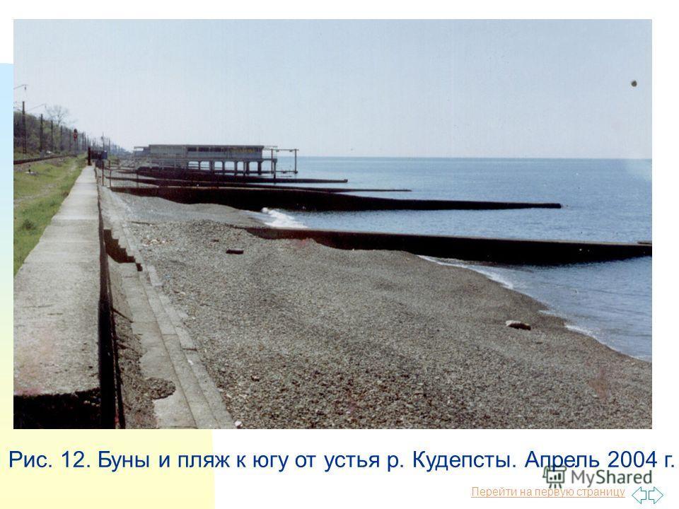 Перейти на первую страницу Рис. 12. Буны и пляж к югу от устья р. Кудепсты. Апрель 2004 г.