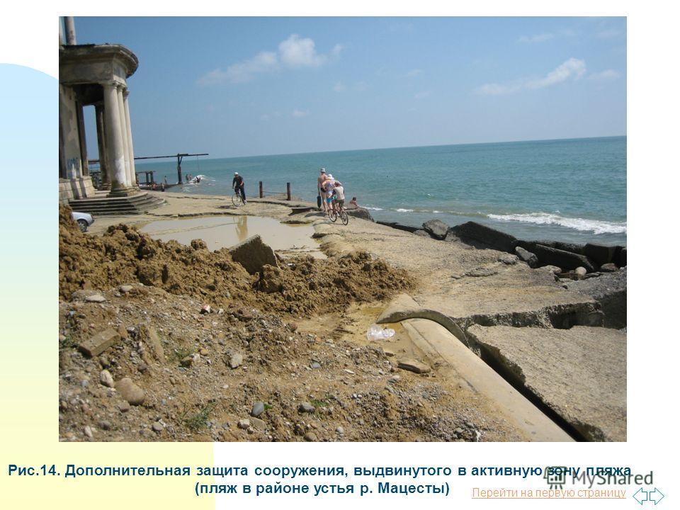Перейти на первую страницу Рис.14. Дополнительная защита сооружения, выдвинутого в активную зону пляжа (пляж в районе устья р. Мацесты)