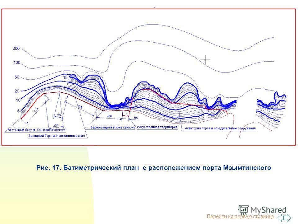 Перейти на первую страницу Рис. 17. Батиметрический план с расположением порта Мзымтинского