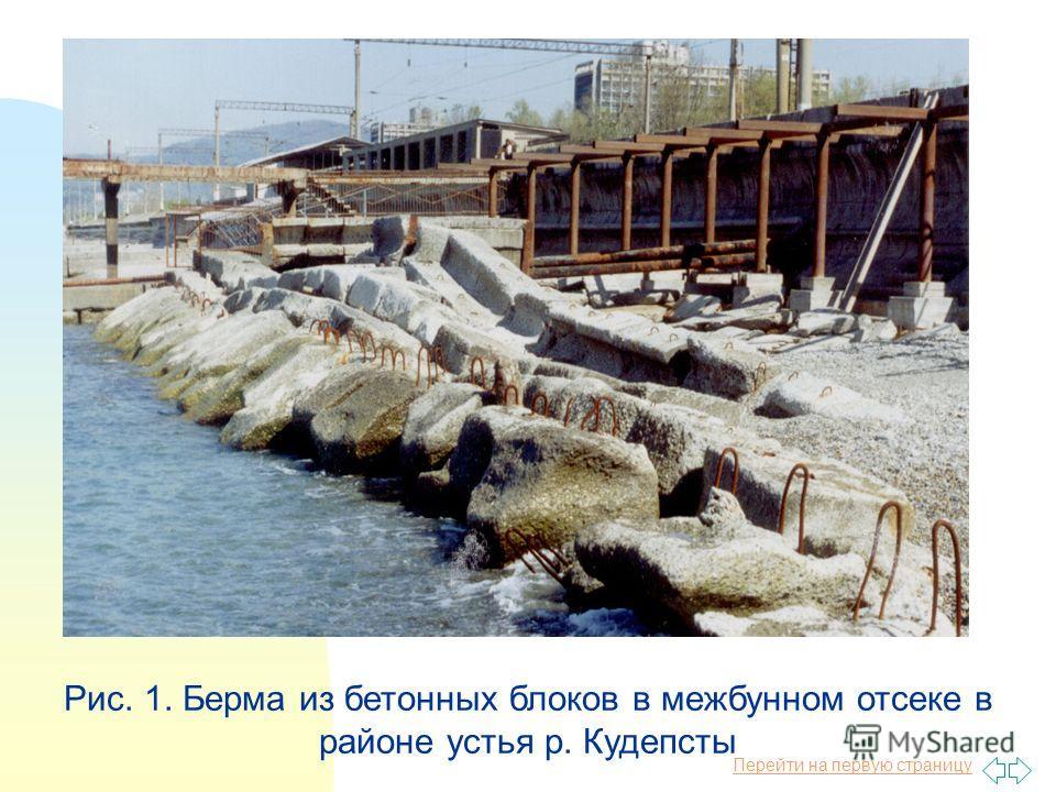 Перейти на первую страницу Рис. 1. Берма из бетонных блоков в межбунном отсеке в районе устья р. Кудепсты