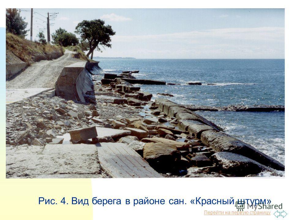 Перейти на первую страницу Рис. 4. Вид берега в районе сан. «Красный штурм»