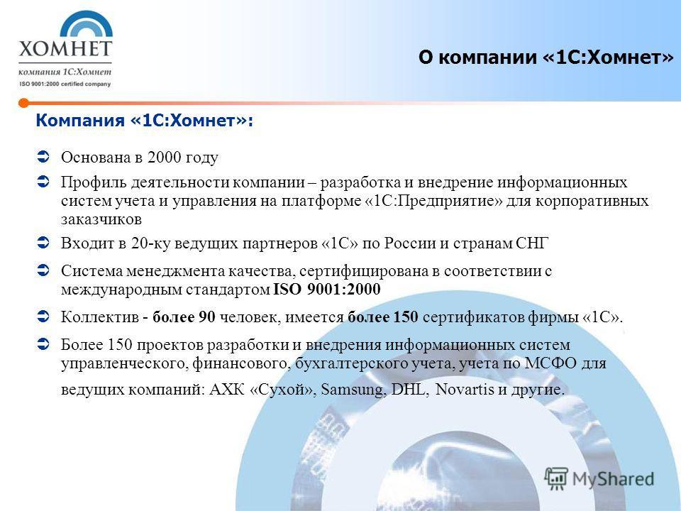 Компания «1С:Хомнет»: Основана в 2000 году Профиль деятельности компании – разработка и внедрение информационных систем учета и управления на платформе «1С:Предприятие» для корпоративных заказчиков Входит в 20-ку ведущих партнеров «1С» по России и ст