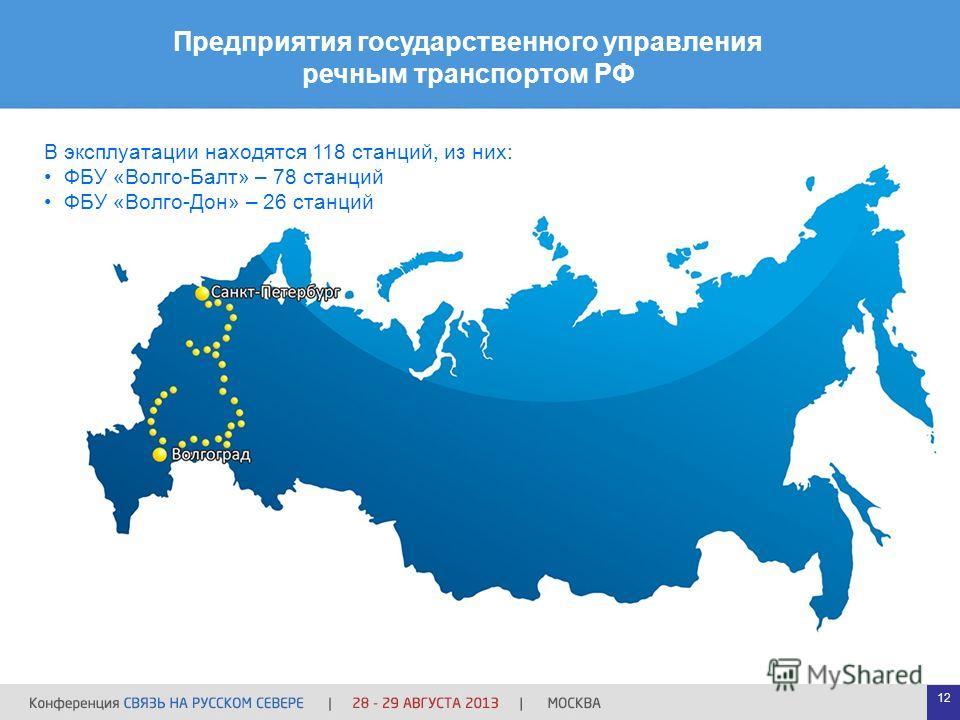 12 Предприятия государственного управления речным транспортом РФ В эксплуатации находятся 118 станций, из них: ФБУ «Волго-Балт» – 78 станций ФБУ «Волго-Дон» – 26 станций