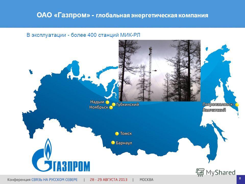 ОАО «Газпром» - глобальная энергетическая компания В эксплуатации - более 400 станций МИК-РЛ 8
