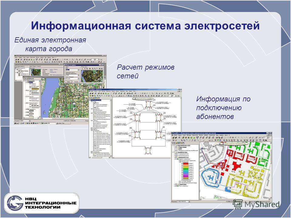Информационная система электросетей Единая электронная карта города Расчет режимов сетей Информация по подключению абонентов