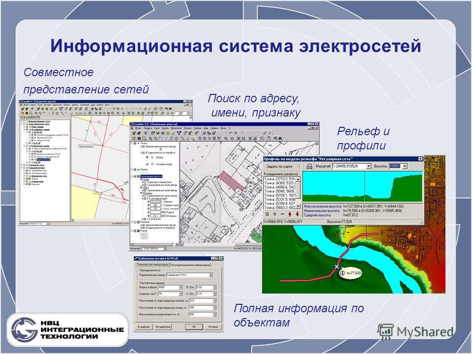 Информационная система электросетей Совместное представление сетей Поиск по адресу, имени, признаку Рельеф и профили Полная информация по объектам