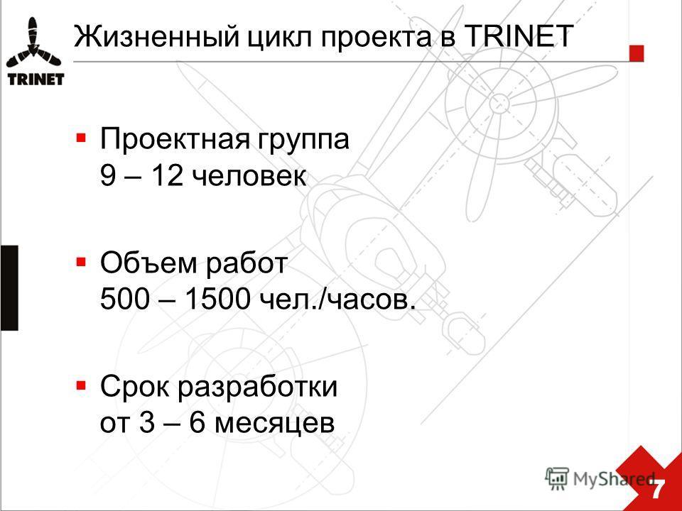 Жизненный цикл проекта в TRINET Проектная группа 9 – 12 человек Объем работ 500 – 1500 чел./часов. Срок разработки от 3 – 6 месяцев 7