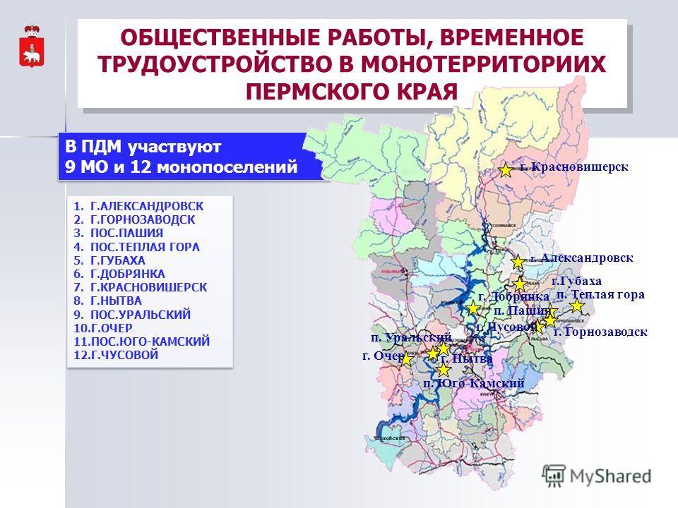 ОБЩЕСТВЕННЫЕ РАБОТЫ, ВРЕМЕННОЕ ТРУДОУСТРОЙСТВО В МОНОТЕРРИТОРИИХ ПЕРМСКОГО КРАЯ В ПДМ участвуют 9 МО и 12 монопоселений В ПДМ участвуют 9 МО и 12 монопоселений г. Красновишерск г. Александровск г.Губаха п. Теплая гора п. Пашия г. Горнозаводск г. Чусо