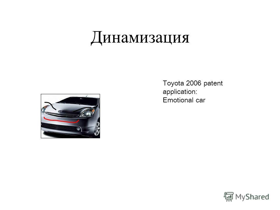 Динамизация Toyota 2006 patent application: Emotional car