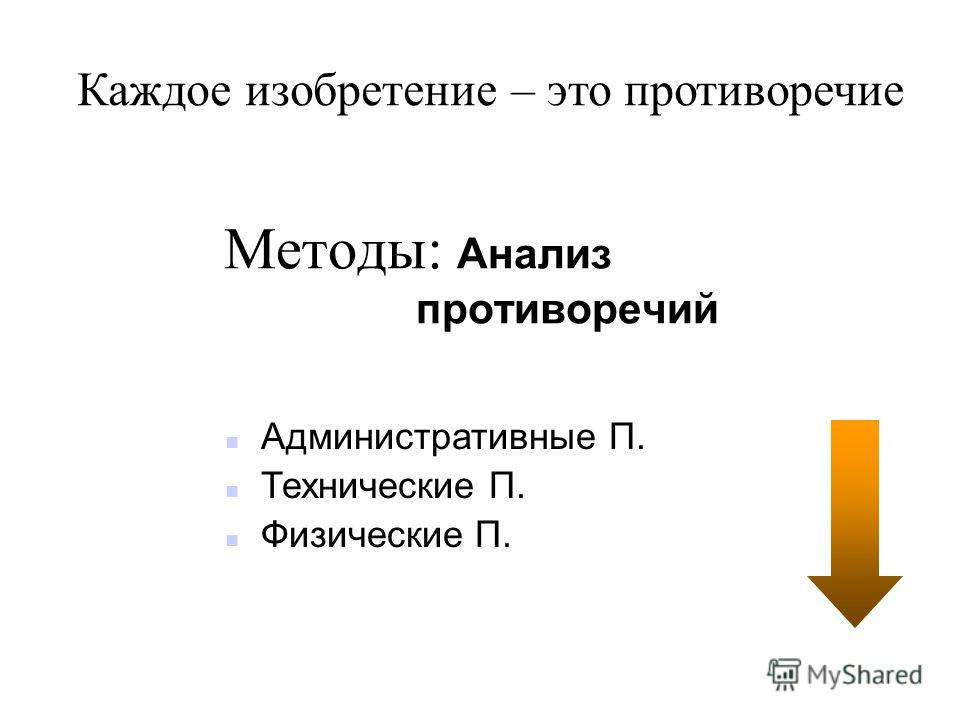 Методы: Анализ противоречий n Административные П. n Технические П. n Физические П. Каждое изобретение – это противоречие