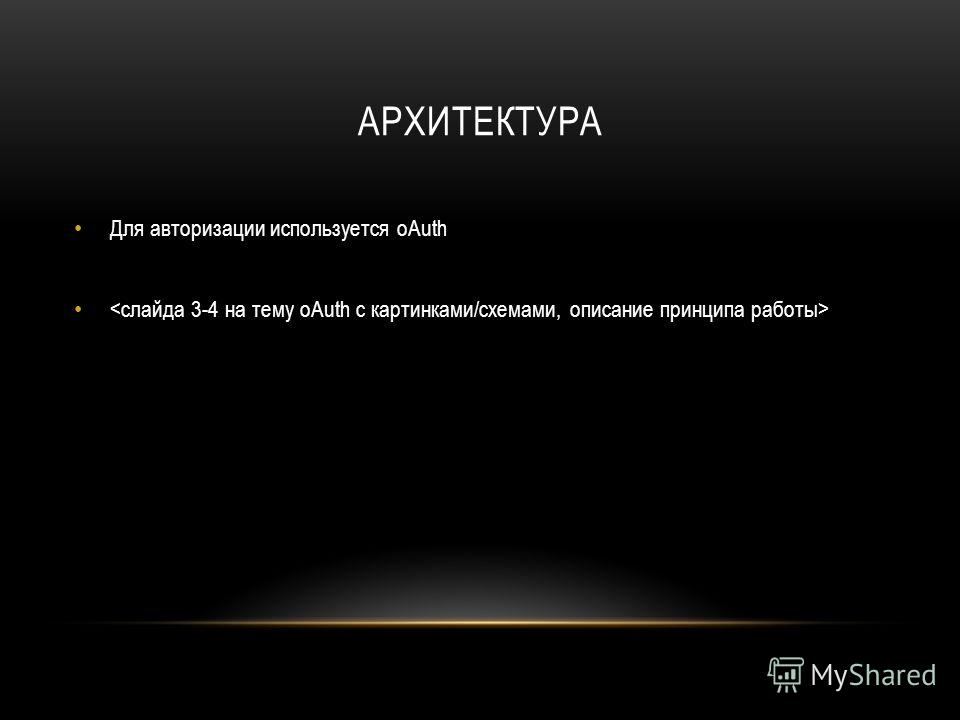 АРХИТЕКТУРА Для авторизации используется oAuth