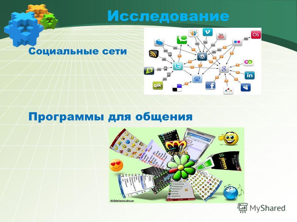 Исследование Социальные сети Программы для общения