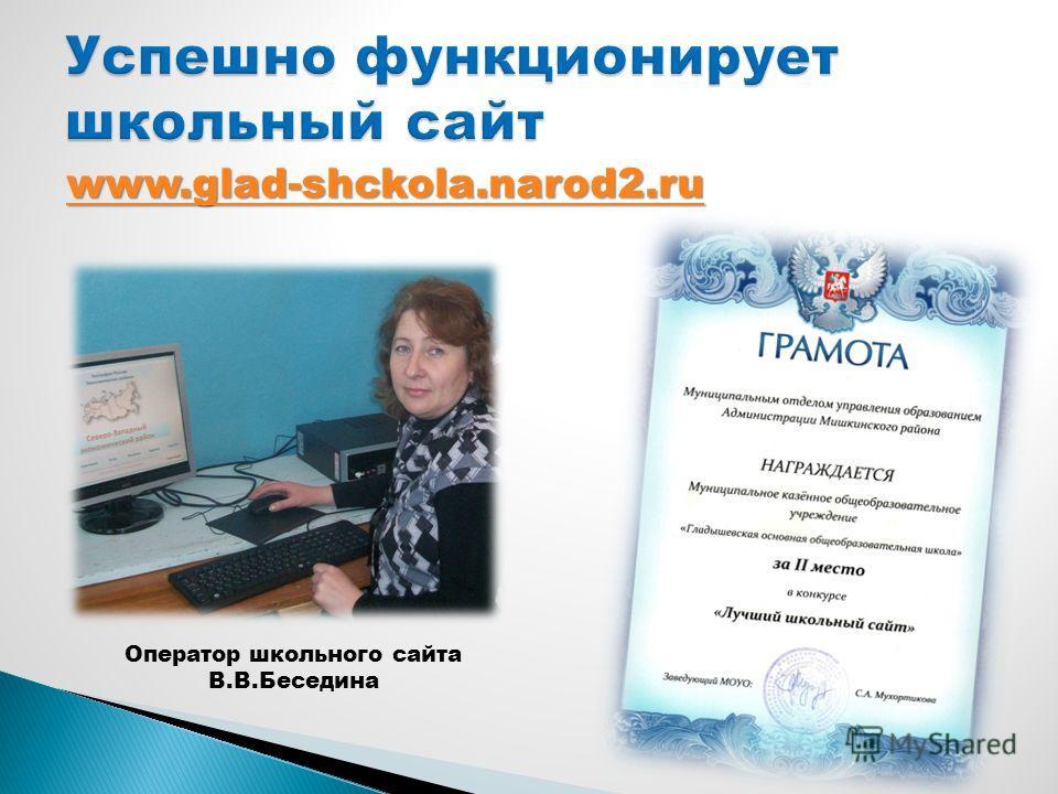 www.glad-shckola.narod2.ru Оператор школьного сайта В.В.Беседина
