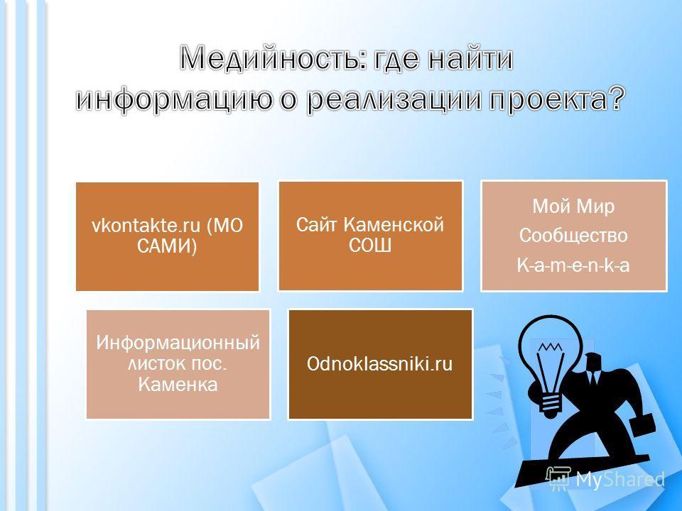 Odnoklassniki.ru Сайт Каменской СОШ Мой Мир Сообщество K-a-m-e-n-k-a Информационный листок пос. Каменка vkontakte.ru (МО САМИ)