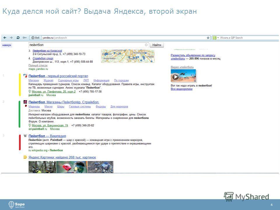 Куда делся мой сайт? Выдача Яндекса, второй экран 4