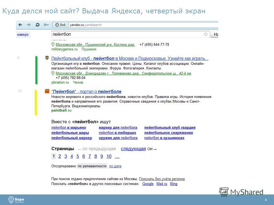 Куда делся мой сайт? Выдача Яндекса, четвертый экран 4