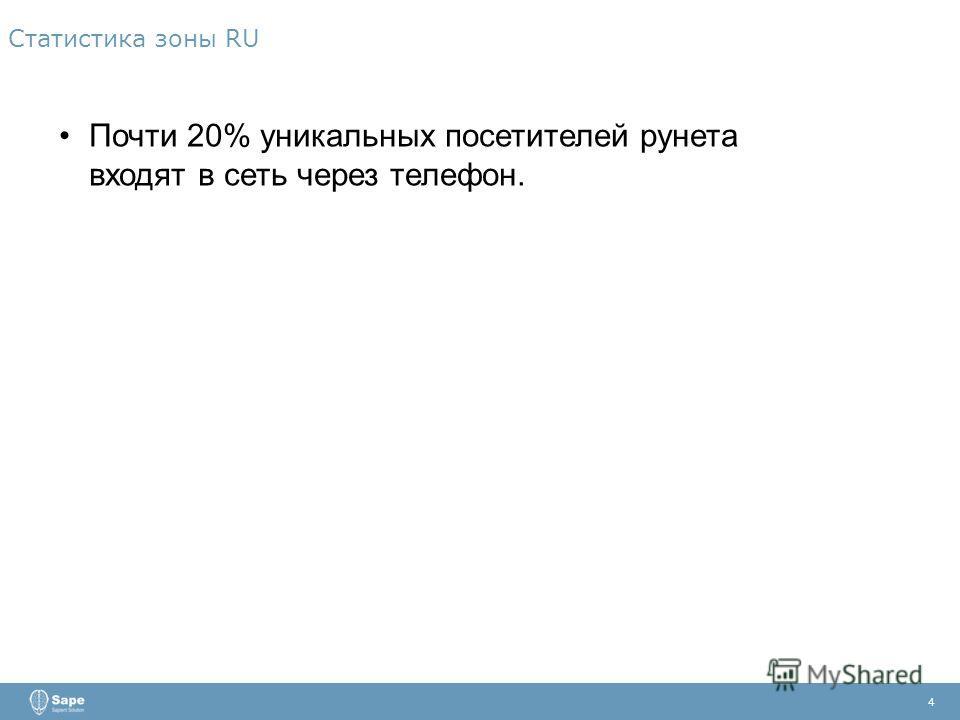 4 Почти 20% уникальных посетителей рунета входят в сеть через телефон.