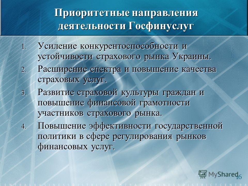 Приоритетные направления деятельности Госфинуслуг 1. Усиление конкурентоспособности и устойчивости страхового рынка Украины. 2. Расширение спектра и повышение качества страховых услуг. 3. Развитие страховой культуры граждан и повышение финансовой гра