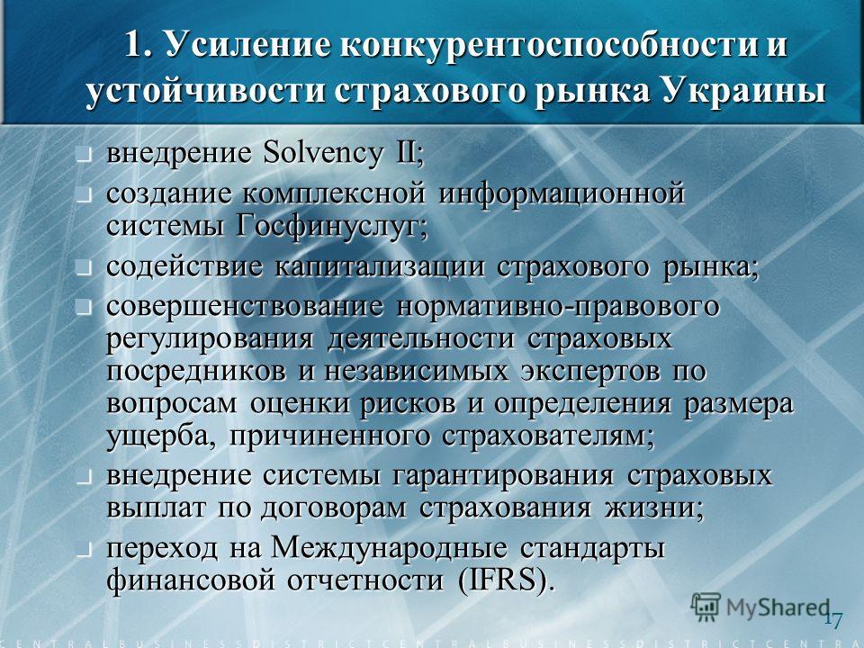 1. Усиление конкурентоспособности и устойчивости страхового рынка Украины внедрение Solvency II; внедрение Solvency II; создание комплексной информационной системы Госфинуслуг; создание комплексной информационной системы Госфинуслуг; содействие капит