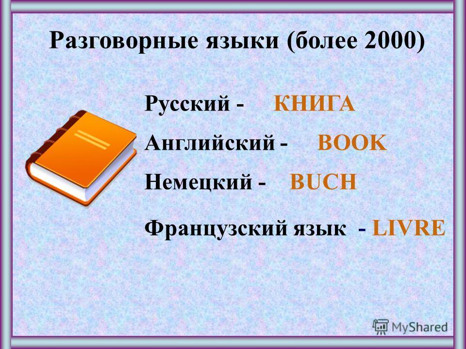 Разговорные языки (более 2000) Русский - КНИГА Английский - BOOK Немецкий - BUCH Французский язык - LIVRE