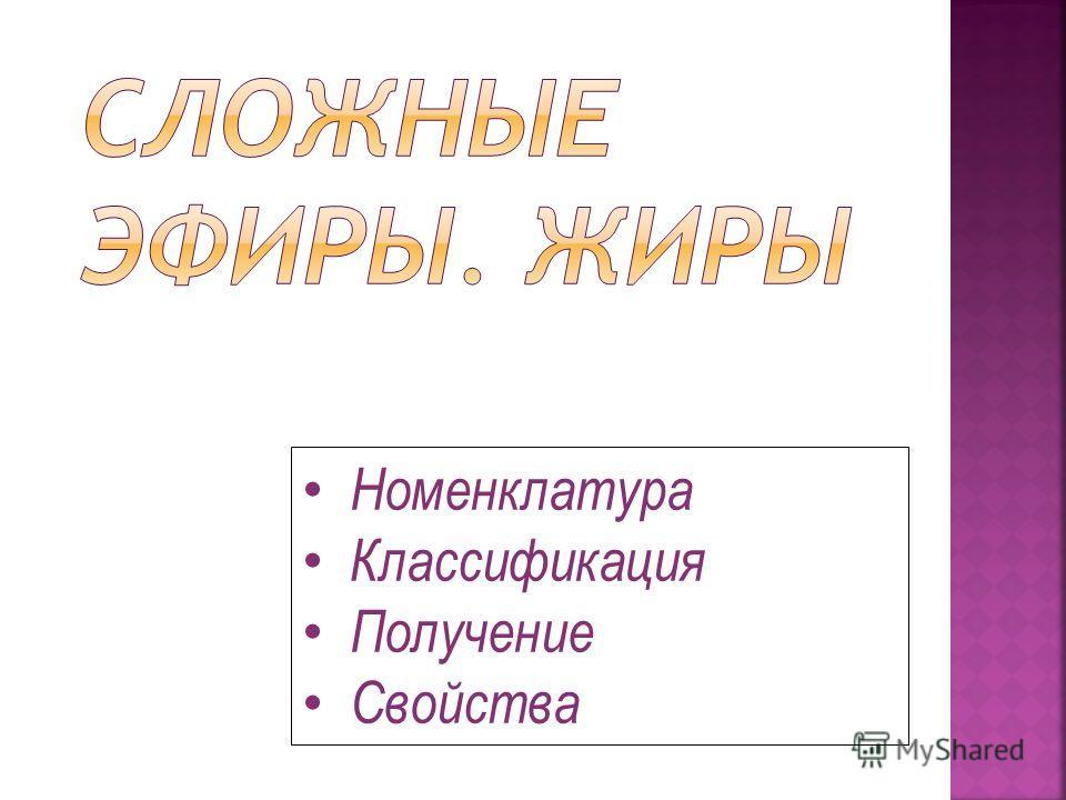 Номенклатура Классификация Получение Свойства