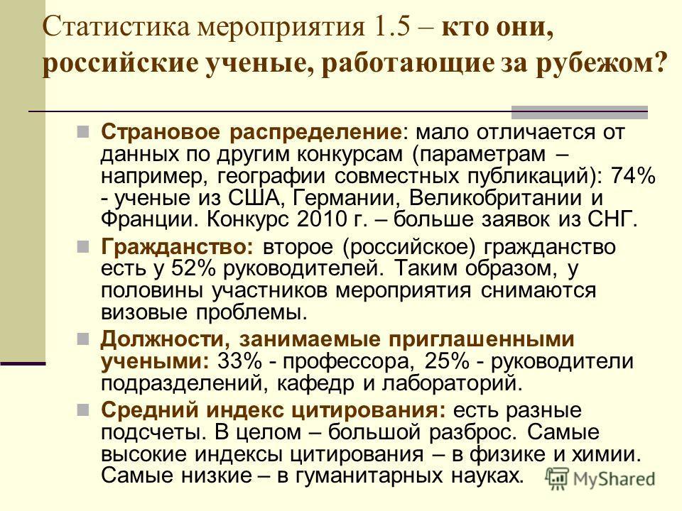 Статистика мероприятия 1.5 – кто они, российские ученые, работающие за рубежом? Страновое распределение: мало отличается от данных по другим конкурсам (параметрам – например, географии совместных публикаций): 74% - ученые из США, Германии, Великобрит
