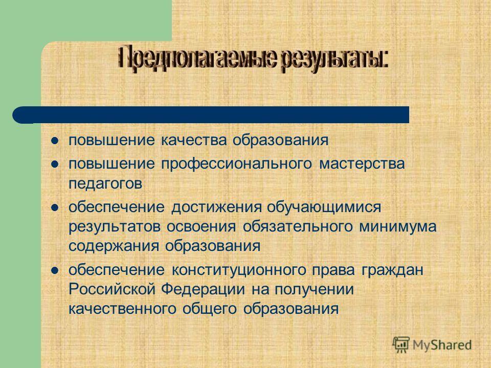 повышение качества образования повышение профессионального мастерства педагогов обеспечение достижения обучающимися результатов освоения обязательного минимума содержания образования обеспечение конституционного права граждан Российской Федерации на