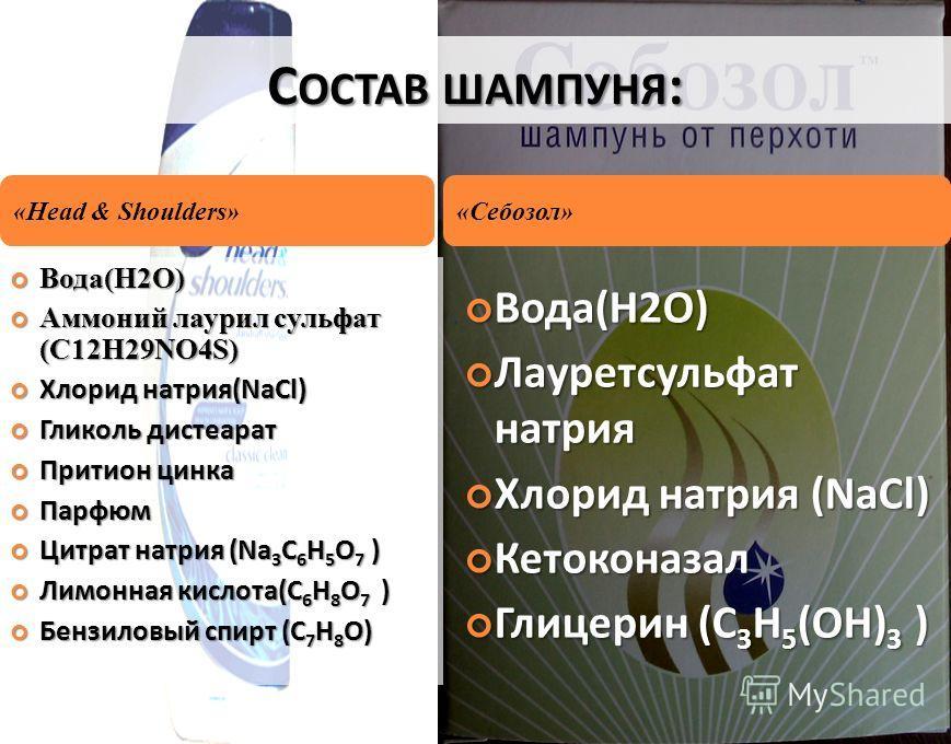 С ОСТАВ ШАМПУНЯ : Вода(H2O) Вода(H2O) Аммоний лаурил сульфат (C12H29NO4S) Аммоний лаурил сульфат (C12H29NO4S) Хлорид натрия(NaCl) Хлорид натрия(NaCl) Гликоль дистеарат Гликоль дистеарат Притион цинка Притион цинка Парфюм Парфюм Цитрат натрия (Na 3 C