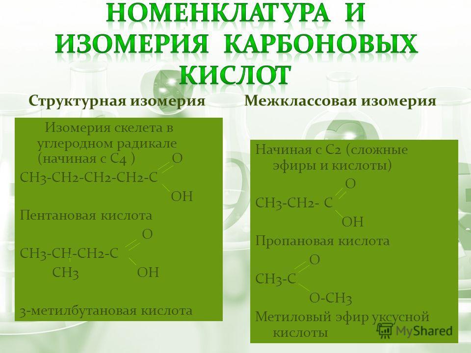 Структурная изомерия Изомерия скелета в углеродном радикале (начиная с С4 ) О СН3-СН2-СН2-СН2-С ОН Пентановая кислота О СН3-СН-СН2-С СН3 ОН 3-метилбутановая кислота Межклассовая изомерия Начиная с С2 (сложные эфиры и кислоты) О СН3-СН2- С ОН Пропанов