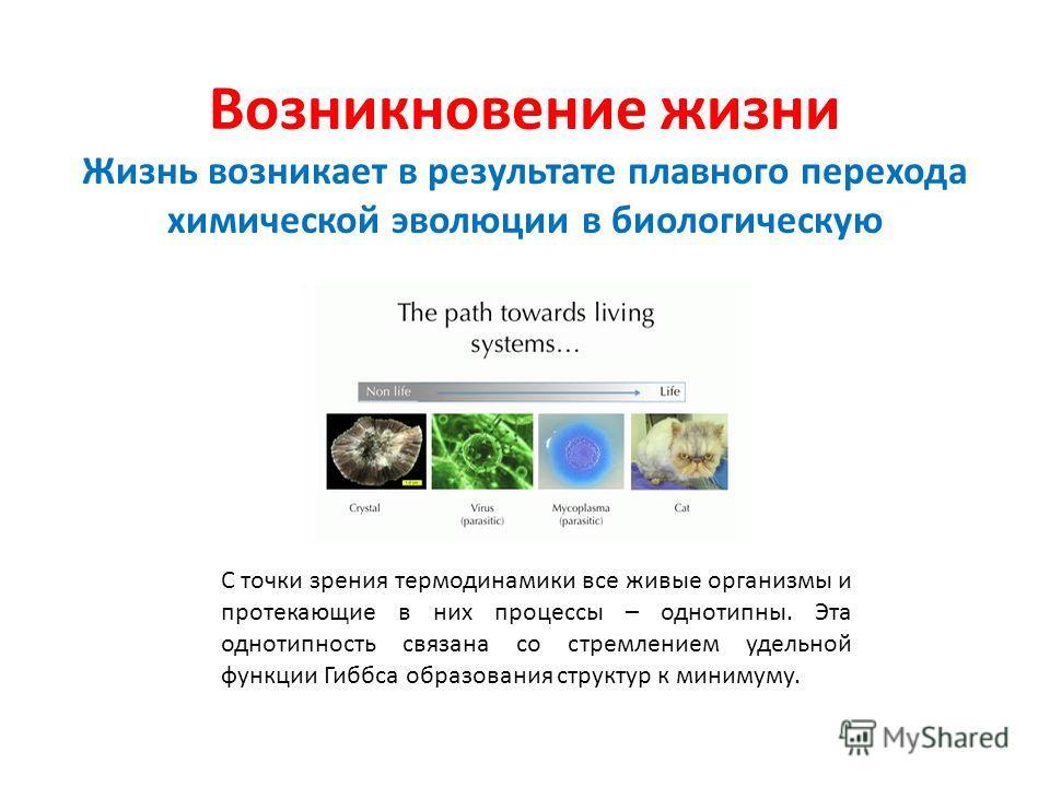 Возникновение жизни Жизнь возникает в результате плавного перехода химической эволюции в биологическую С точки зрения термодинамики все живые организмы и протекающие в них процессы – однотипны. Эта однотипность связана со стремлением удельной функции