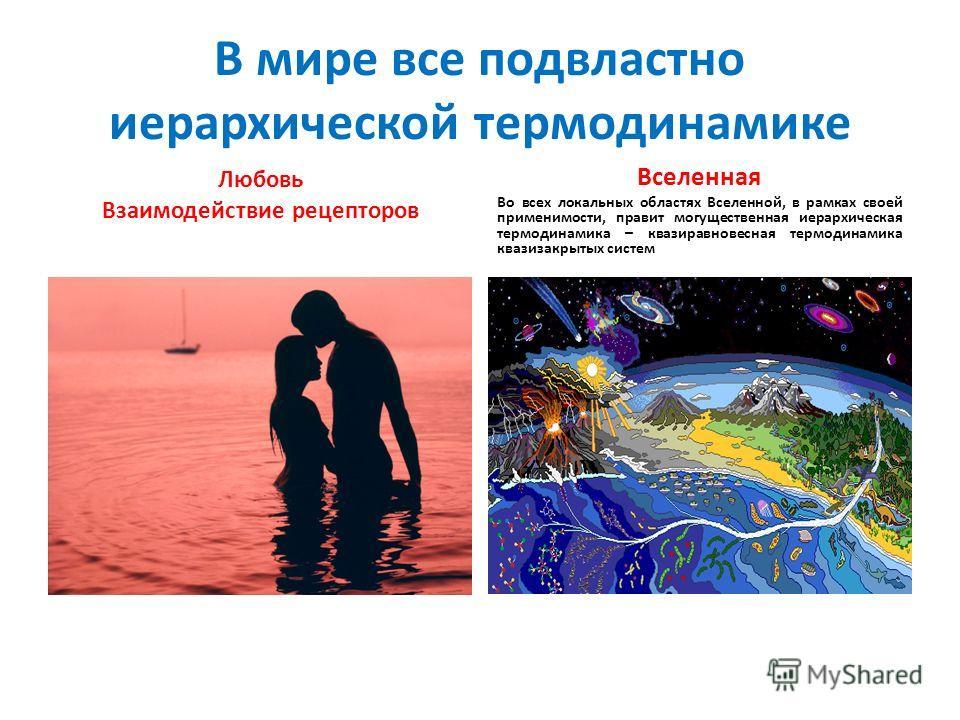 В мире все подвластно иерархической термодинамике Любовь Взаимодействие рецепторов Вселенная Во всех локальных областях Вселенной, в рамках своей применимости, правит могущественная иерархическая термодинамика – квазиравновесная термодинамика квазиза