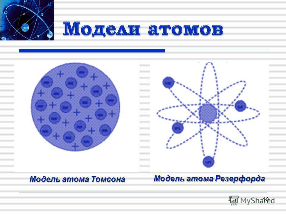 10 Модель атома Томсона Модель атома Томсона Модель атома Резерфорда Модель атома Резерфорда