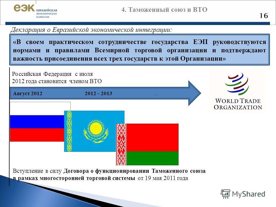 4. Таможенный союз и ВТО 16 Российская Федерация с июля 2012 года становится членом ВТО Декларация о Евразийской экономической интеграции: «В своем практическом сотрудничестве государства ЕЭП руководствуются нормами и правилами Всемирной торговой орг
