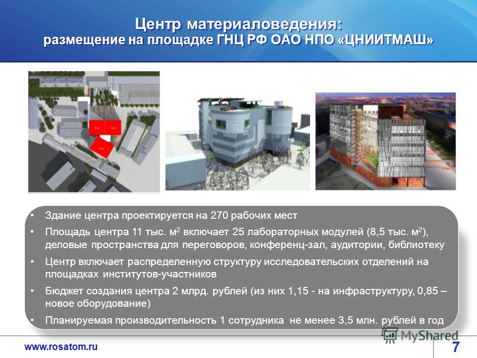 www.rosatom.ru Центр материаловедения: размещение на площадке ГНЦ РФ ОАО НПО «ЦНИИТМАШ» 77 Здание центра проектируется на 270 рабочих мест Площадь центра 11 тыс. м 2 включает 25 лабораторных модулей (8,5 тыс. м 2 ), деловые пространства для переговор