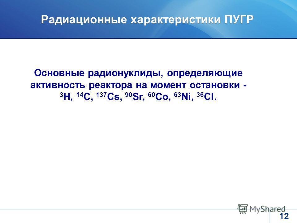 12 Радиационные характеристики ПУГР Основные радионуклиды, определяющие активность реактора на момент остановки - 3 H, 14 C, 137 Cs, 90 Sr, 60 Co, 63 Ni, 36 Cl.