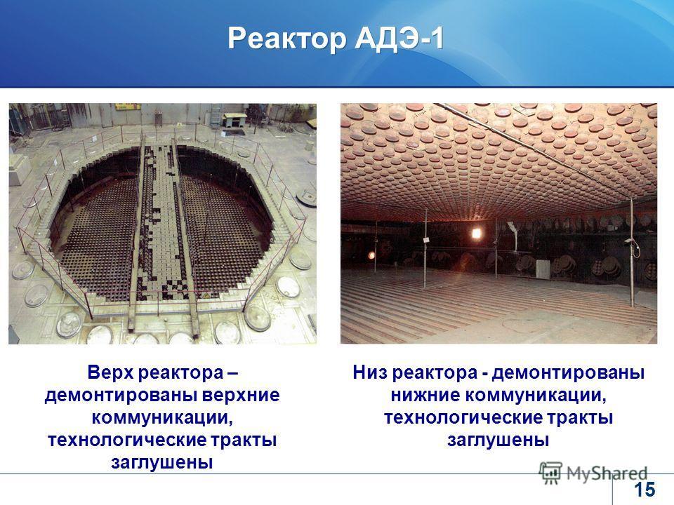 Реактор АДЭ-1 15 Верх реактора – демонтированы верхние коммуникации, технологические тракты заглушены Низ реактора - демонтированы нижние коммуникации, технологические тракты заглушены