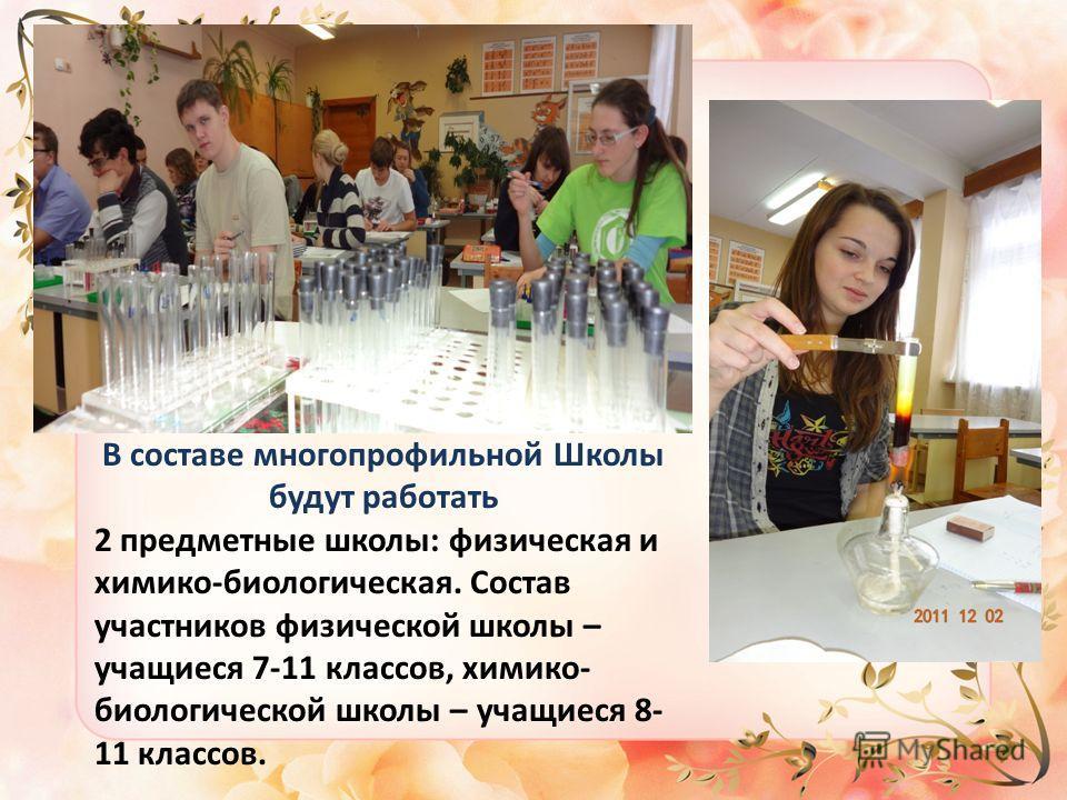 В составе многопрофильной Школы будут работать 2 предметные школы: физическая и химико-биологическая. Состав участников физической школы – учащиеся 7-11 классов, химико- биологической школы – учащиеся 8- 11 классов.