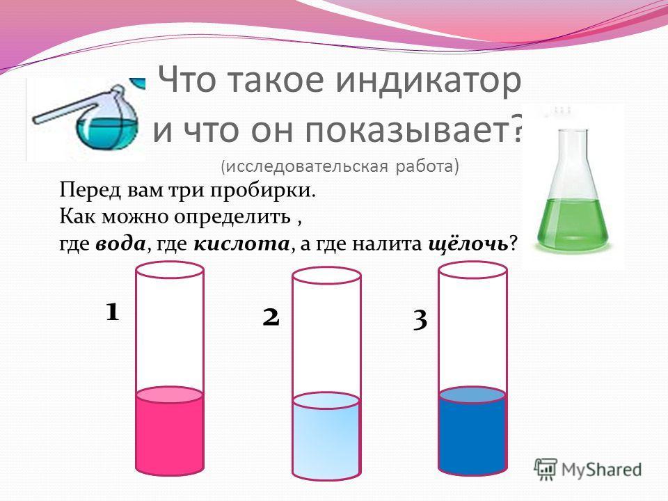 Что такое индикатор и что он показывает? ( исследовательская работа) Перед вам три пробирки. Как можно определить, где вода, где кислота, а где налита щёлочь? 1 2 3