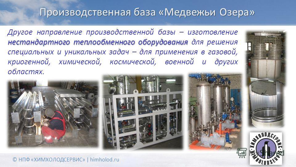 Производственная база «Медвежьи Озера» нестандартного теплообменного оборудования Другое направление производственной базы – изготовление нестандартного теплообменного оборудования для решения специальных и уникальных задач – для применения в газовой