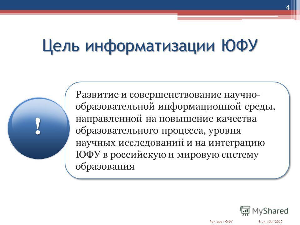 Цель информатизации ЮФУ Развитие и совершенствование научно- образовательной информационной среды, направленной на повышение качества образовательного процесса, уровня научных исследований и на интеграцию ЮФУ в российскую и мировую систему образовани