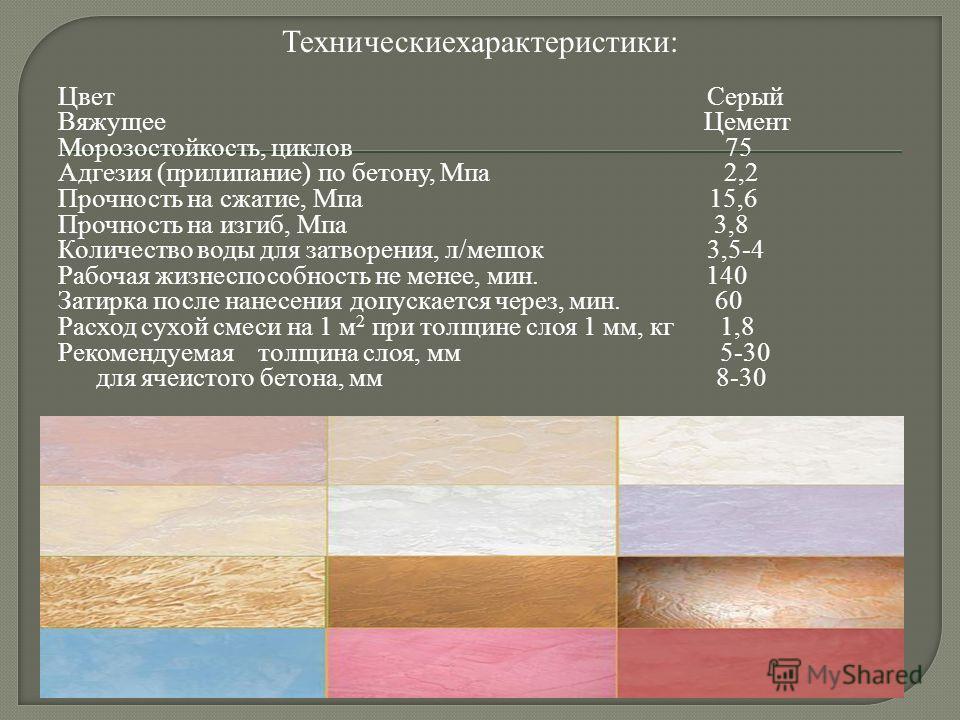 Цвет Серый Вяжущее Цемент Морозостойкость, циклов 75 Адгезия (прилипание) по бетону, Мпа 2,2 Прочность на сжатие, Мпа 15,6 Прочность на изгиб, Мпа 3,8 Количество воды для затворения, л/мешок 3,5-4 Рабочая жизнеспособность не менее, мин. 140 Затирка п