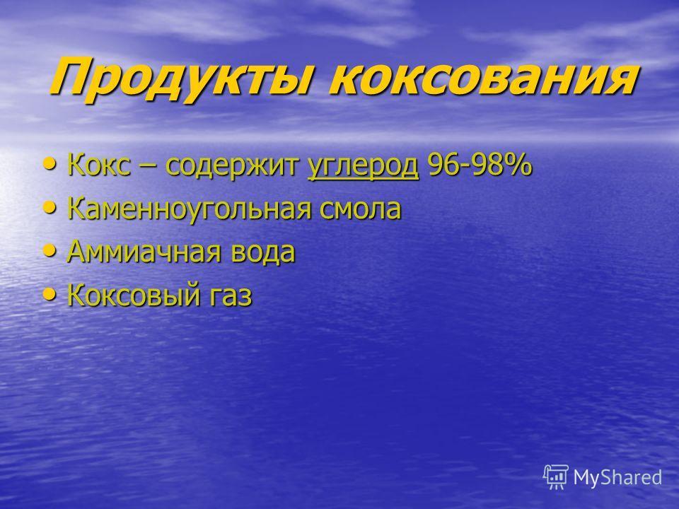 Продукты коксования Кокс – содержит углерод 96-98% Кокс – содержит углерод 96-98% Каменноугольная смола Каменноугольная смола Аммиачная вода Аммиачная вода Коксовый газ Коксовый газ