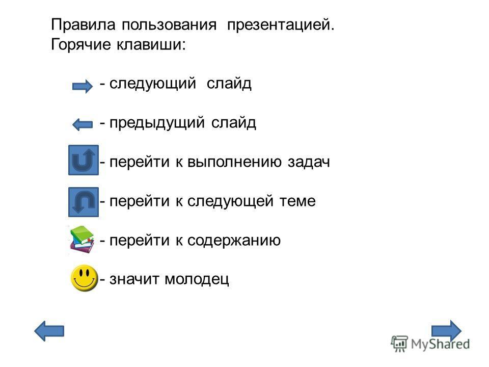 Правила пользования презентацией. Горячие клавиши: - следующий слайд - предыдущий слайд - перейти к выполнению задач - перейти к следующей теме - перейти к содержанию - значит молодец