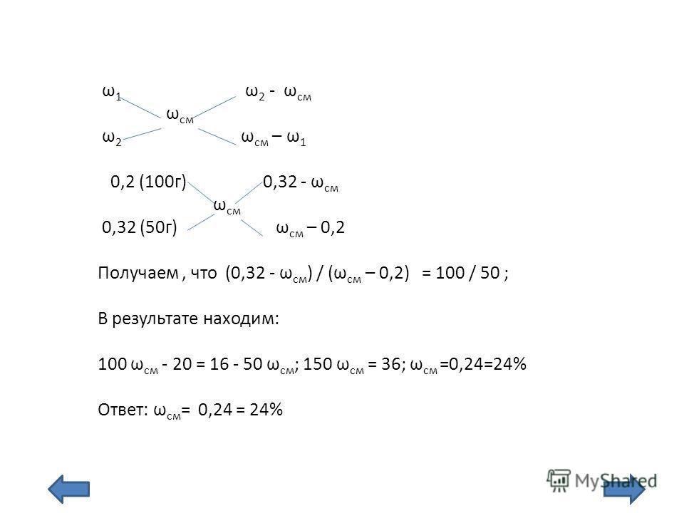 ω 1 ω 2 - ω см ω см ω 2 ω см – ω 1 0,2 (100г) 0,32 - ω см ω см 0,32 (50г) ω см – 0,2 Получаем, что (0,32 - ω см ) / (ω см – 0,2) = 100 / 50 ; В результате находим: 100 ω см - 20 = 16 - 50 ω см ; 150 ω см = 36; ω см =0,24=24% Ответ: ω см = 0,24 = 24%