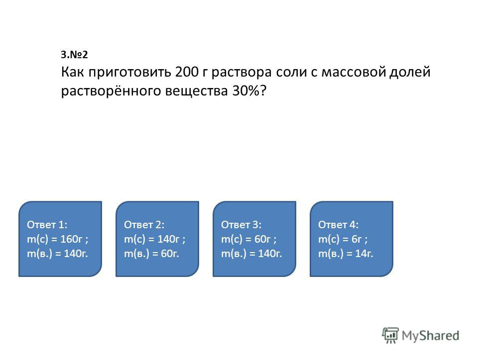 З.2 Как приготовить 200 г раствора соли с массовой долей растворённого вещества 30%? Ответ 1: m(с) = 160г ; m(в.) = 140г. Ответ 2: m(с) = 140г ; m(в.) = 60г. Ответ 3: m(с) = 60г ; m(в.) = 140г. Ответ 4: m(с) = 6г ; m(в.) = 14г.