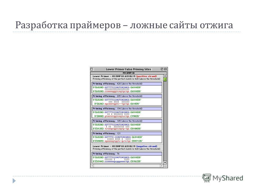 Разработка праймеров – ложные сайты отжига
