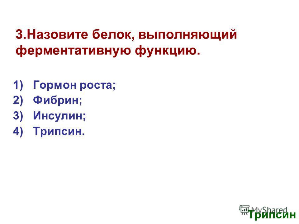 3.Назовите белок, выполняющий ферментативную функцию. 1)Гормон роста; 2)Фибрин; 3)Инсулин; 4)Трипсин. Трипсин