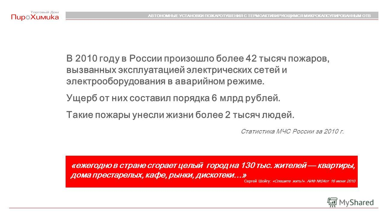 В 2010 году в России произошло более 42 тысяч пожаров, вызванных эксплуатацией электрических сетей и электрооборудования в аварийном режиме. Ущерб от них составил порядка 6 млрд рублей. Такие пожары унесли жизни более 2 тысяч людей. «ежегодно в стран