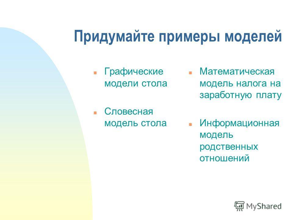 Придумайте примеры моделей n Графические модели стола n Словесная модель стола n Математическая модель налога на заработную плату n Информационная модель родственных отношений