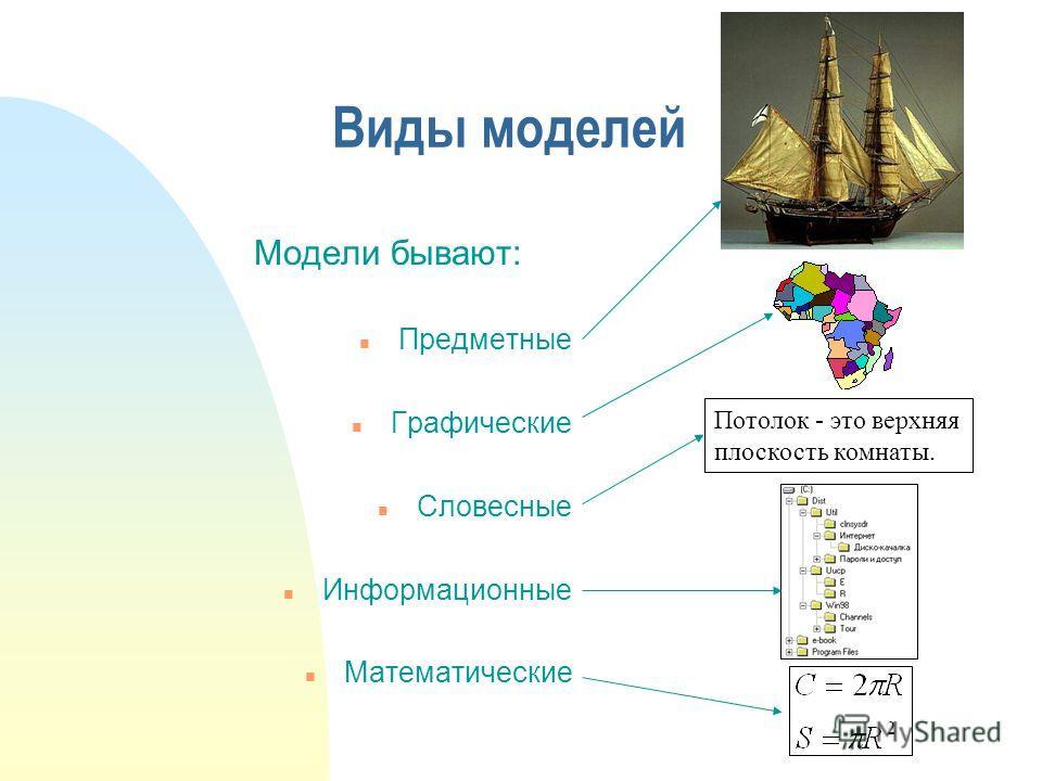 Виды моделей Модели бывают: n Предметные n Графические n Словесные n Информационные n Математические Потолок - это верхняя плоскость комнаты.
